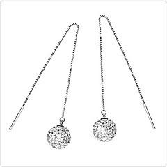 925 Silver Long Snow White Sterling Silver Drop Earrings