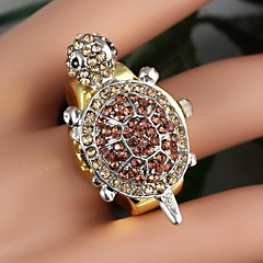 Women's Lovely Tortoise -Shaped With Full Rhinestone Flip Quartz Ring Watch Gold (1Pc)