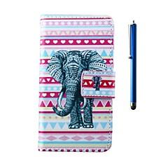 For HTC etui Kortholder Pung Med stativ Flip Etui Heldækkende Etui Elefant Hårdt Kunstlæder for HTC