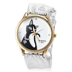Women's Cat Pattern Soft Silver PU Band Quartz Wrist Watch (Assorted Colors) Cool Watches Unique Watches