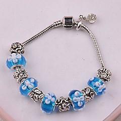 European Pandoran  blue  flower Pandent Silver Alloy Charm Bracelet new arrivale (1 pc)