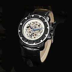 cadran squelette automatique bracelet en cuir montre étanche mécanique des hommes (couleurs assorties)