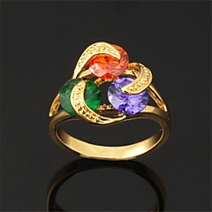 U7® AAA+ CZ Stone Colorful Cubic Zirconia Cluster Ring 18K Real Gold PlatedImitation Diamond Birthstone