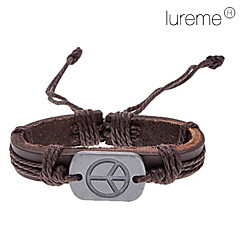 Lureme®Unisex Peace Sign Fabric Leather Bracelet(Random Color)