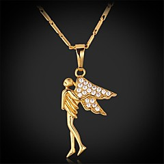 U7® Angel Spark AAA+ Cubic Zirconia 18K Real Chunky Gold Plated Pendant Necklace