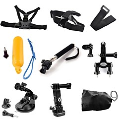 TOZ 9 in 1 Kit Chest +Head Strap+Floating Grip +Handlebar Seatpost + Monopod+Suction Cup+Wrist Strap for GoPro Hero 4