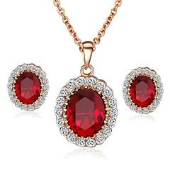 smaragd elegant 18k steg guld utsedda röd \ blå österrikiska kristall hänge halsband örhängen smycken set