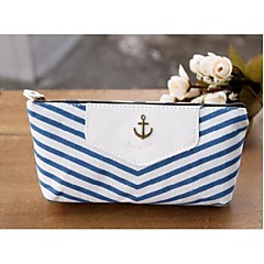Navy Stripes Style Pen Pencil Case Cosmetic Make up Bag Storage Pouch Wallet Coin Purse Blue