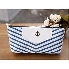 marina strisce stile penna matita caso cosmetico compone stoccaggio sacchetto della borsa del raccoglitore del sacchetto della moneta blu