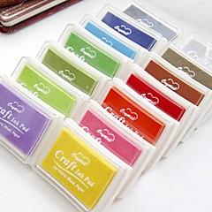 12色を塗るペーパークラフトファブリック指紋スクラップブック用印肉スタンプ