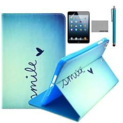 coco FUN® motif de coeur mignon cas de stand PU cuir flip avec un film et un stylet pour Apple iPad mini-1/2/3