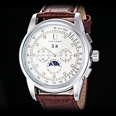 forsining Männer automatische mechanische sechs Zeiger Diamantdekor Dial Lederband Armbanduhr (farbig sortiert)