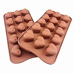15 홀 심장 모양 케이크 아이스 젤리 초콜릿 몰드, 실리콘 21 × 10.5 × 2.5 cm (8.3 × 4.1 × 1.0inch)