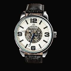 Masculino Relógio Esqueleto Automático - da corda automáticamente Gravação Oca Couro Banda Preta marca-