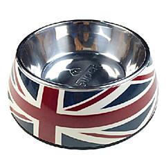 teste padrão da bandeira nacional de aço inoxidável tigela de comida para animais de estimação cães