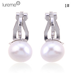 Lureme®Alloy Pearl Earring Clips(Assorted Colors)