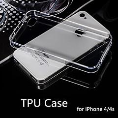 hot prodej ultra tenký styl měkký pružný transparentní TPU pouzdro pro iPhone 4 / 4S (různé barvy)
