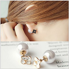 Han Edition Double-Sided Wear Temperament XiaoZou Chrysanthemum Flower Pearl Earrings