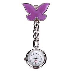 reloj de cuarzo de bolsillo diseño doctor enfermera hebilla de aguja de mariposa púrpura de la cadena de las mujeres