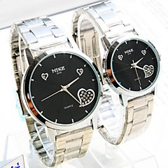 Couple's Round Dial Steel Band Quartz Fashion Watch (Assorted Colors)