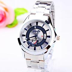 mannen stalen ronde wijzerplaat band quartz mode horloge (verschillende kleuren)