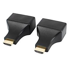 HDMI to RJ45 CAT-5e / 6 HD 3D Signal Extension Adapters - Black (2 PCS)