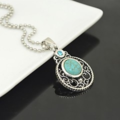 Toonykelly Vintage Look Antique Silver Plated Turquoise with Crystal Necklace(1 Pc)