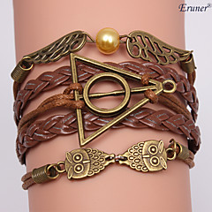 Eruner®Leather Bracelets Multilayer Alloy Owl and Wings Charms Handmade Bracelets