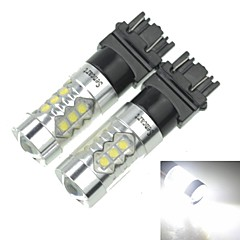 2x 3157  P27 W2.5X16Q  80W 16xCREE Cold White 4500LM 6500K for Car  Brake Light (AC/DC12V-24)
