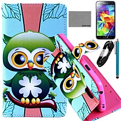 COCO FUN® Green Owl Pattern PU Leather Case with Film and USB Cable and Stylus for Samsung Galaxy S5 I9600