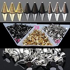 30pc kulta ja hopea ja musta metalliseos punk kartiomainen kynsikoristeet koriste