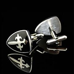 toonykelly cobre escudo de plata del esmalte negro de la mancuerna de los hombres de moda (plata) (1 par)