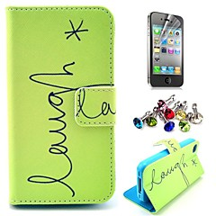 Laugh Star Pattern PU Leather Case with Screen Protector and Dust Plug for iPhone 4/4S