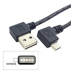 عكسها اليمين واليسار الزاوية 90 درجة USB 2.0 الذكور إلى صحيحا الزاوية الصغرى 5pin USB كابل الذكور 25CM