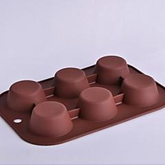 6 Hole Circular Shape Cake Molds,Silicone 26.5×18×3 CM(10.4×7.1×1.2 INCH)