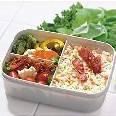 Students' Three Squares Lunch Box,Plastic 16.5×8.5×8.5 CM(6.5×3.3×3.3 INCH) Random Color