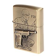 verden en pistol p38 halvautomatisk pistol indgraveret messing kobber zink legering lighter (bronze)