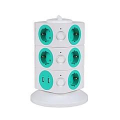 overbelastningsbeskyttelse 5v / 2.1a 3 sal med 11 EU-udtag og 2 USB strømskinner