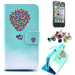 Colorful Flying Balloon and House Pattern PU Leather Case with Screen Protector and Dust Plug for iPhone 4/4S