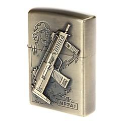 6103-3 antiek pistool patroon koper zinklegering olie lichter (brons)