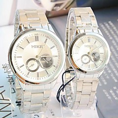 Couple's Round Dial Steel Band Quartz Fashion Watch