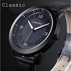 la robe de la montre des hommes montres noir classique en cuir véritable bracelet de sport analogiques regarder mouvement japon