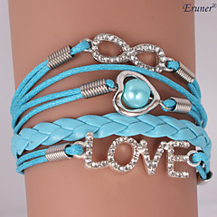 Eruner®Leather Bracelets Zircon Multilayer Alloy Love and Infinite Charms Handmade