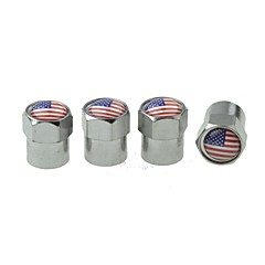 럭셔리 자동차 타이어 국기 구리 밸브 장식 캡 (미국 팩 당 4 개)