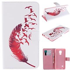 punainen sulka suunnittelu pu nahka koko kehon kotelo jalustalla ja korttipaikka Samsung Galaxy Mega 5.8 (i9150)