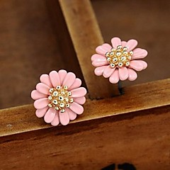 Earring Flower Stud Earrings Jewelry Party / Daily / Casual Alloy White / Yellow / Green / Purple / Pink