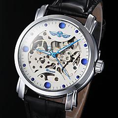 reloj mecánico automático de línea hueco azul puntero de la PU de la venda de cuero de los hombres (colores surtidos)