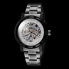 Hombre Reloj Esqueleto Cuerda Manual Huecograbado Acero Inoxidable Banda Negro Marca- WINNER