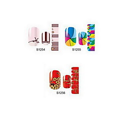 14pcs cartoon nail art stickers s1 serie no.1254-1256 (assorti patroon)