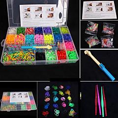 pulseras eruner®diy color del arco iris bandas telar color al azar conjunto banda de goma